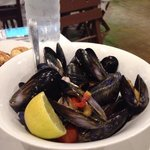 Boilrd mussels with wine- excellent , much better than brussels