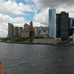 The ferry has just left Manahattan - Battery Park to the left