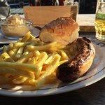 Bratwurst, pommes frites, sauerkraut, beer.