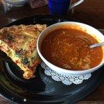 Artichoke quiche and tomato soup. Wonderfully hot and fresh.