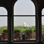 view of the Taj from the lobby