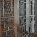 intricately carved wooden doors