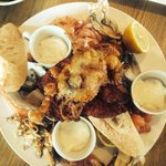 Seafood platter for 2. Fresh prawns, crevettes, dressed crab, crab claws, smoked salmon, mussels