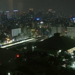 Night-time view from our room, with Ryogoku sumo stadium