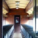 Inside vintage passenger car