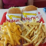 Hamburger and Fries.  Cheese fries too