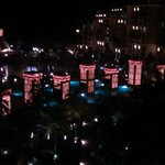 Looking down into the center of the resort from our room at night