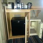 The safe and the secret hidden mini fridge - very useful for your groceries