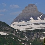 View of Mt. Reynolds, Hidden Lake Trail, & Logan Pass Vis Ctr at right