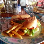 Corvina sandwich and fries.
