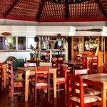 Open air Restaurant Dining Room.  Nice ocean breezes
