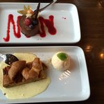 Chocolate mousse and apple cake with vanilla ice cream for dessert