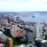 View from the Space Needle with a miniature photographic effect.