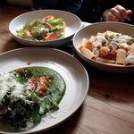 one of each main course for lunch, salmon caesar salad, pork belly with polenta, rigatoni