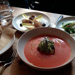one of each starter for lunch, chicken and endive, gazpacho with anchovies, broad beans and rico