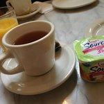 Yogurt, orange juice, and an array of tea