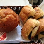 Muffin and chocolate bread