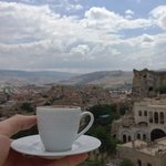Having a Turkish coffee on the terrace