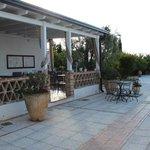 Hotel patio dining area