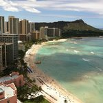 View from Oceanview room of Waikiki & Diamond Head