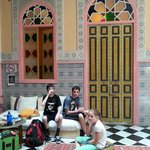 Enjoying Moroccan Mint tea in the foyer on arrival - the kids loved that stuff!