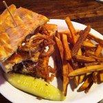 Chicken and onion straw panini