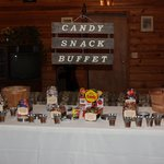 Candy Buffet for Wedding Inside Lodge