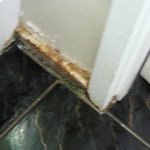 Rotten skirting board in bathroom