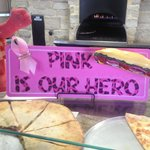 Bruno's Pizza and Italian restaurant celebrating Paint the Town Pink Campaign.