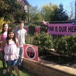 My 3 children, Glenn, Abby and Ashley outside of Bruno's looking at the Paint the Town Pink disp