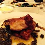 Duck confit with lentils.