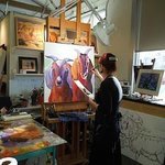 Anne Laddon painting in her studio, March 3, 2012