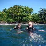 My son and I about to dive Tulamben, Bali