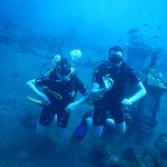 A happy dad and his lad diving at Tulamben, Bali