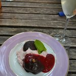 mascarpone filled figs and raspberry mousse