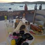Beets and bbq stuffed calamari with cheese