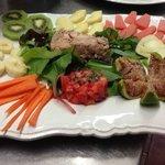 fegato di baccalà con frutta e verdura