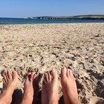 Enjoying Studland beach and view of Old Harry rocks