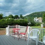 Deck of Inn- thats the mainhouse/restaurant and Hackensack Mountain