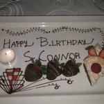 Personalised birthday dessert made by hotel