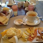 Brunch with divine scones - there are also hot items such as bacon and eggs