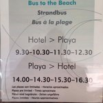 Times for the free bus from/to the hotel and beach.