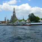 view of Wat Arun from water taxi