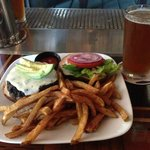 Iron Maiden burger with a glass of Trooper Ale!