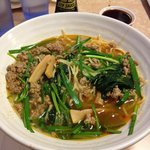 Ramen with minced pork, bamboo shoots and spinach