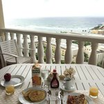 Home cooked breakfast on balcony