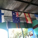 Flags hanging at Yogi's Hostel.