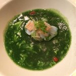 Double boiled sea treasures soup with black truffle