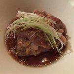 Pan seared fillet of ribeye in sesame dressing