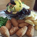 Scampi and Chips with side salad!